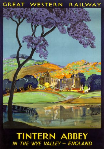 Tintern Abbey, Wye Valley, Monmouthshire. GWR Vintage Travel Poster by Frieda Lingstrom. 1930
